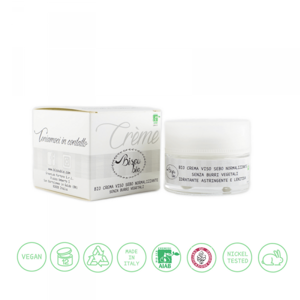 Bio crema viso sebo normalizzante senza burri vegetali 50 ml